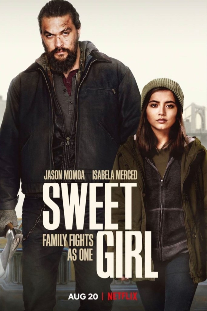 The film poster showing Ray (Jason Momoa) and Rachel (Isabela Merced) walking fiercely. He is holding an axe and his face is bruised.