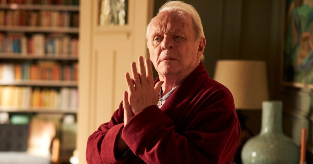 Anthony (Anthony Hopkins) clapping his hands together.