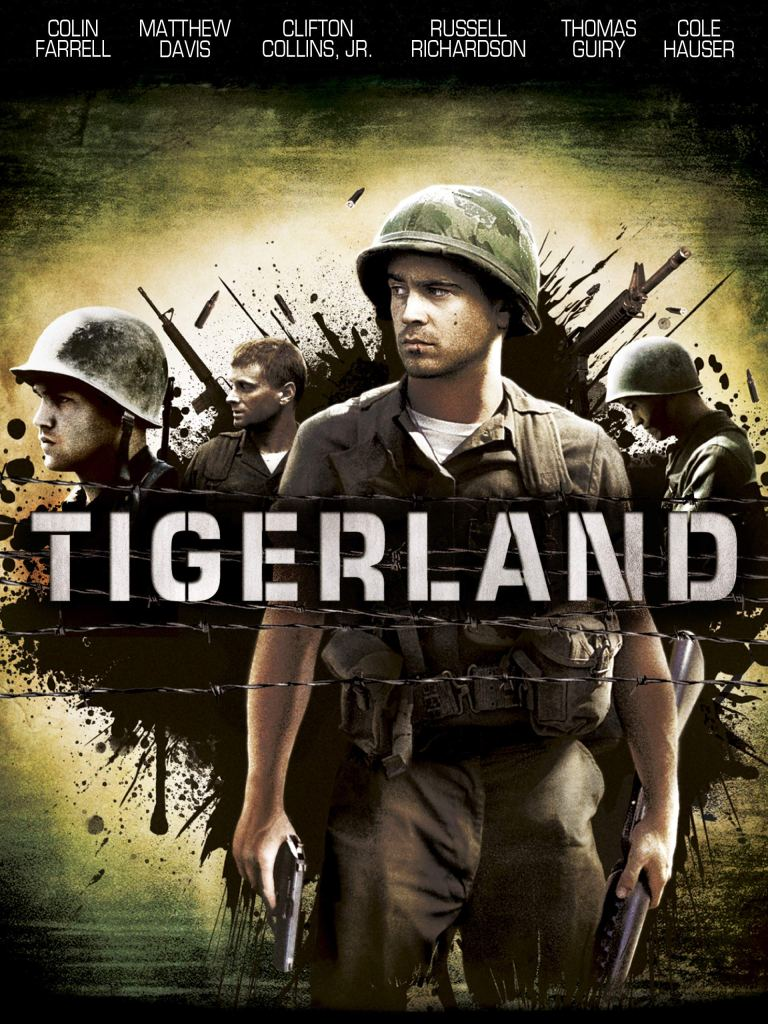 The film poster showing Bozz (Colin Farrell) in military garb, behind him other soldiers in a splash of ink.