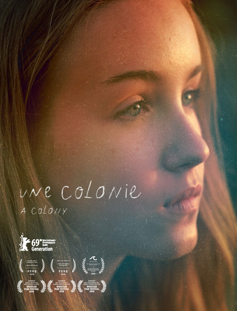 The film poster showing a close-up of Mylia (Emilie Bierre) looking into the distance.