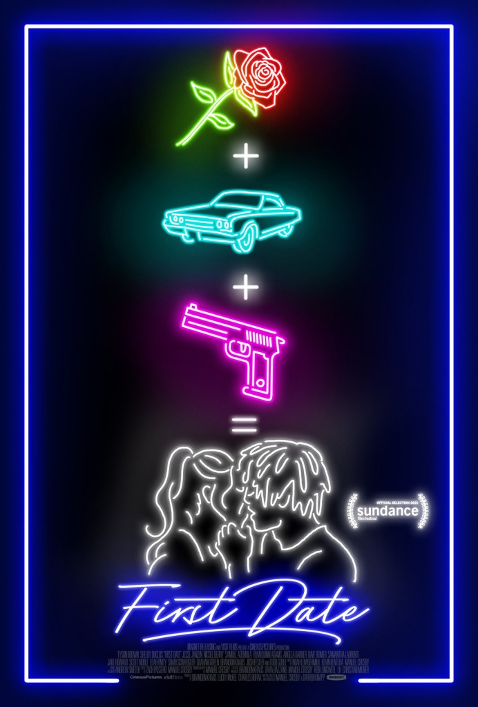 The film poster showing a rose, a car and a gun with plus signs between them, adding up to a kissing couple. Everything looks like its a neon light in different colors.