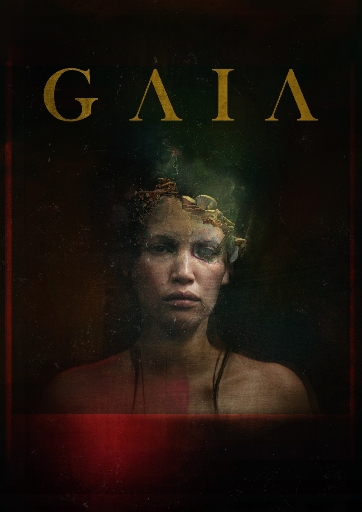 The film poster showing Gabi (Monique Rockman) from her shoulders up, her head dissolving into mushrooms.