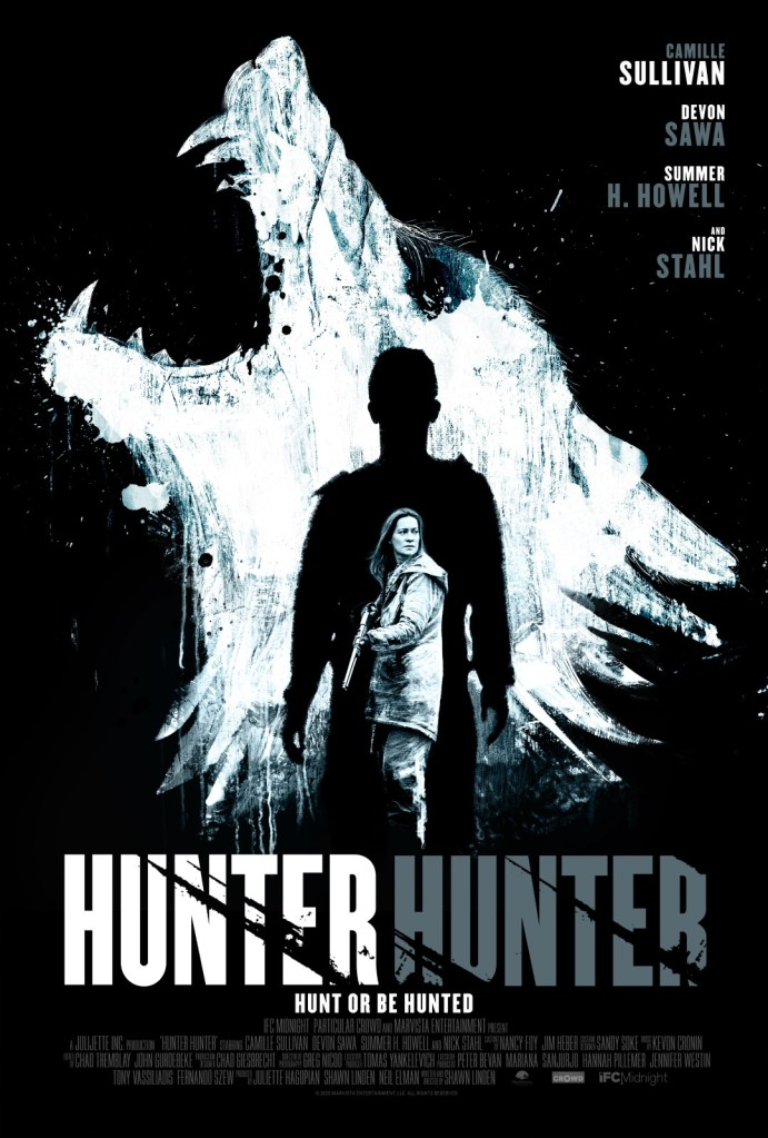 The film poster showing a howling wolf, painted with white color on a black background. in front of it the silhouette of a man, and in front of that Anne (Camille Sullivan), rifle in hand.