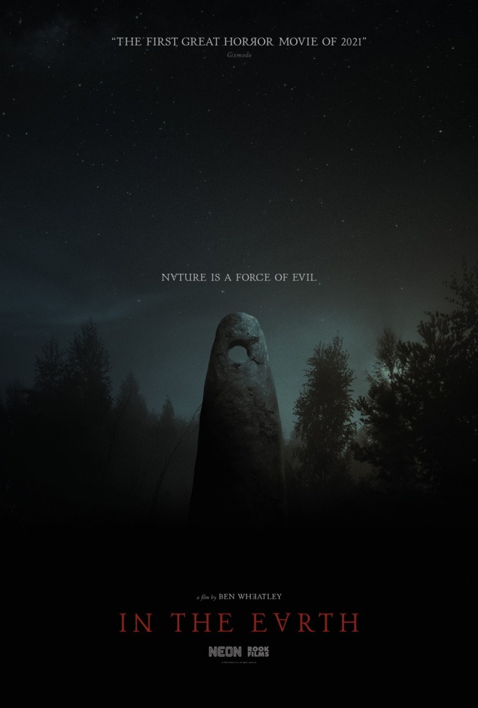 The film poster showing an obelisk-like boulder with a round hole at the top in the forest under a starry sky.