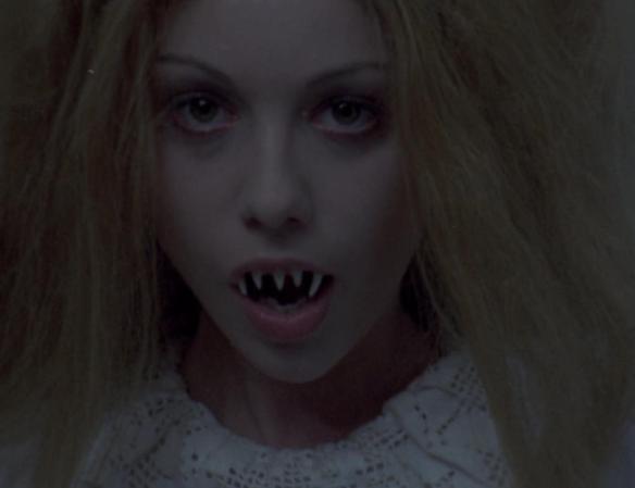 Radojka (Mirjana Nikolic) with her mouth full of sharp teeth.