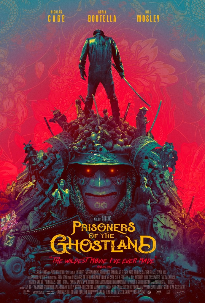 The film poster showing the Hero (Nicolas Cage) standing atop a giant warrior helmet with skulls, other people and a huge clock that seem almost part of the helmet.